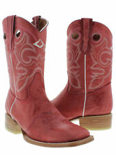 Women's Red Mid Calf Leather Pull On Cowboy Boots Riding Rodeo Square