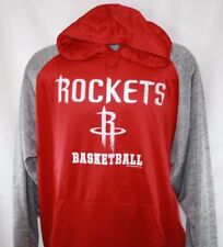 NEW Mens NBA Houston Rockets Red Grey Poly Fleece Raglan Pullover Hoodie
