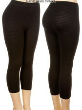 Black Textured Cropped Capri Stretch Footless Leggings Plus OS
