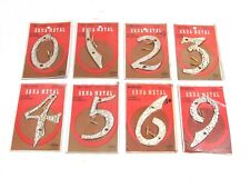 NOS! VINTAGE ORNA-METAL HOUSE NUMBERS, GOLD TONE HAMMERED ALUMINUM