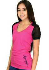 Harley-Davidson Ladies Short Sleeve Magenta V-Neck T-Shirt w/ Jacquard Knit