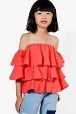 Boohoo Kids Girls Tiered Frill Woven Blouse