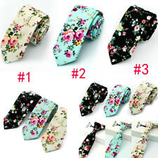 Mens Floral Paisley Cotton Skinny 6cm Necktie Party High Quality Tie 3 Stype NTS