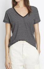 New Vince Striped Charcoal Gray Short Sleeve V-Neck Tee T-shirt Top XS S M L