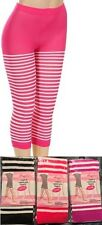 Fuchsia Magenta or Black Striped Cropped Capri Footless Tights OS