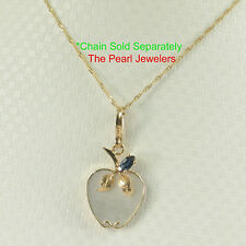 14k Solid Yellow Gold Apple Design Mother of Pearl & Blue Sapphire Pendant TPJ