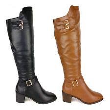 WOMENS LADIES LEATHER FLAT MID HEEL KNEE HIGH BUCKLE WINTER RIDING BOOTS UK SIZE