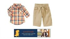 Gymboree baby Boys Dino Plaid Shirt/Corduroy Pants outfit 3 6 12 18 24