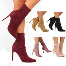 Women Suede Stiletto Pumps Shoes High Heels Pointed Toe Ankle Boots Sandals