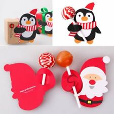50pcs Christmas Santa Claus Penguin Lollipop Card Lolly Sugar-loaf Xmas Toy Gift