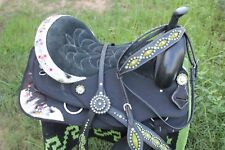 Western Cordura Trail Barrel Pleasure Horse SADDLE Bridle Tack Lime Green 4977