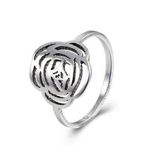 Stainless Steel Mens Rings Hollow Flower Signet Knuckle Ring Size 8 9 Simple