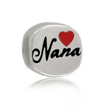 Sterling Silver Love Nana Grandma Red Heart Enamel for European Charm Bracelet