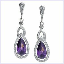 Purple Clear Cubic Zirconia Teardrop Dangle Earring w/ Sterling Silver Stud Post