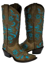 Women's Flower Inlay Western Wear Cowgirl Boots Leather Rodeo Snip Toe