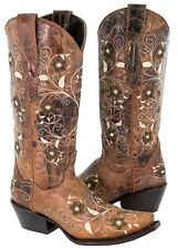 Womens Cognac Flower Embroidered Leather Cowgirl Rodeo Pointed Toe Boots
