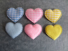 *25* GINGHAM FABRIC HEARTS *Blue Pink Yellow* CARD MAKING CRAFT EMBELLISHMENTS