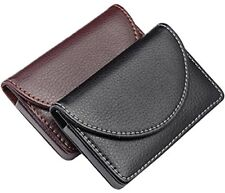 Ayliss Business Card Holder Top Stainless Steel Leather Magnetic Shut Card Case