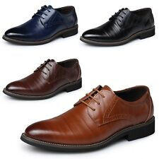 Mens Oxford Shoes Lace Up Formal Brogues Cuban Heel calf leather size US 5-14