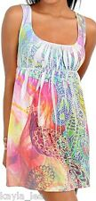 Pink/Green Peacock Sublimation Print Sleeveless/Tank Tunic/Mini Dress