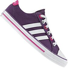 Adidas Neo Label Canvas VL 3 Stripes Trainers Lifestyle Shoes Purple Pink White
