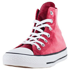 Converse Chuck Taylor Allstar Hi Velvet Womens Trainers Wine New Shoes