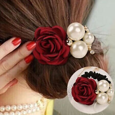 Fashion Women Pearl Rose Flower Hair Rings Rope Rubber Band Ponytail Holder