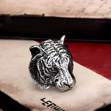 NEW COOL 316L Stainless Steel Power Mens Jewelry Tiger Head Ring Sz 7-13