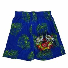 Mens Blue Jingle Bells Rock Electric Guitar Christmas Holiday Silky Boxer Shorts