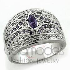 A1211 PURPLE SIMULATED AMETHYST 925 STERLING SILVER 14K WHITE GOLD PLATED RING