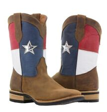 mens brown texas flag rodeo western cowboy leather boots riding stars stripes