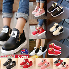 Boys Girls Fur Zipper Martin Ankle Boots Childrens Kids Trainers Sneakers Shoes