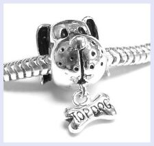 Sterling Silver Top Dog with Dangle Bone Animal Bead for European Charm Bracelet