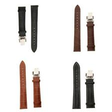 18 20 22mm Vintage Leather Wrist Watch Band Strap Metal Butterfly Buckle