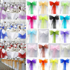 10 Pcs Organza Fabric Chair Covers Bow Sashes Wedding Party Banquet Decor Runner