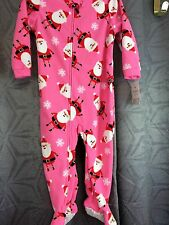 Girl footie pajamas Carters Santa Claus 24M pink blanket sleeper