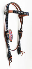 Horse Show Tack Bridle Western Leather Headstall Blue 8420H