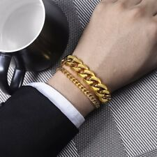 Mens Bracelet Chain Stainless Steel Silver Gold Tone Curb Cuban Link 8-10inch