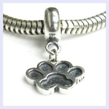 Sterling Silver Dog Puppy Paw Print Footprint Bead for European Charm Bracelet