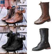 Women Zipper Lace Up Mid-Calf Boots Fashion Ladies Retro Chunky Heel Flat Shoes