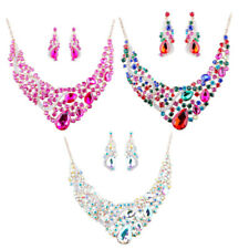 Women Lady Crystal Rhinestone Statement Bib Necklace And Earrings Jewelry Set