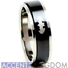 Accents Kingdom 8mm Men's Black Titanium Batman Spinner Ring Band Size 8-12