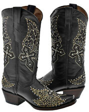 """Womens Black Studded Cross Wings Design Leather Cowboy Cowgirl Boots """