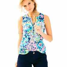 New Lilly Pulitzer ESSIE TOP M / L Multi Dive In Sleeveless Cotton Jersey Shirt