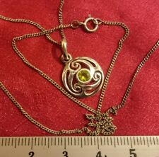 "NEW PERIDOT CELTIC HALLMARKED STERLING SILVER BIRTHSTONE PENDANT.18 "",2.4 GRAMS"