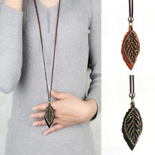 Women Men Delicate Retro Necklace Collar Statement Leaf Leather Pendants Chain