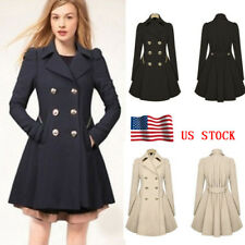 US Womens Double Breasted Coat Parka Overcoat Jacket Windbreaker Parka Outwear