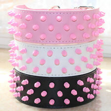 Pink Spiked Studded Leather Dog Collar for Large Breed Pit Bull Bully Terrier