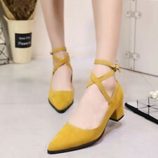 Womens Kitten Heel Pointy Toe Ankle Strap Mary Jane Dress Pumps Shoes Chic