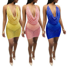 Womens Sexy Backless Sequin Paillette Splicing Solid Dress Slip Dress Large Size